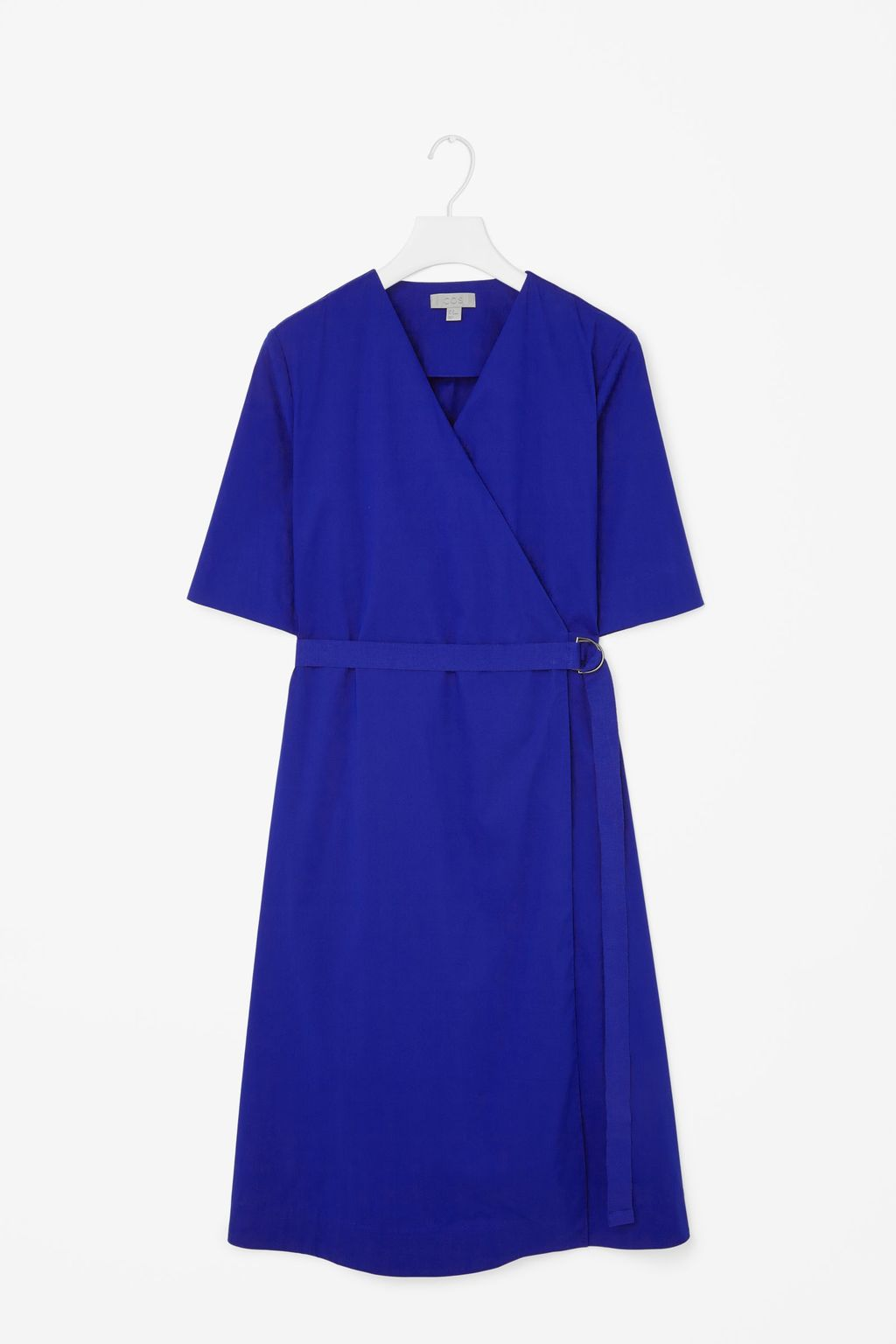 Wrap Over Cotton Dress - style: faux wrap/wrap; neckline: v-neck; fit: fitted at waist; pattern: plain; waist detail: belted waist/tie at waist/drawstring; predominant colour: royal blue; occasions: casual, evening, creative work; length: just above the knee; fibres: cotton - 100%; sleeve length: short sleeve; sleeve style: standard; texture group: crepes; pattern type: fabric; season: s/s 2015