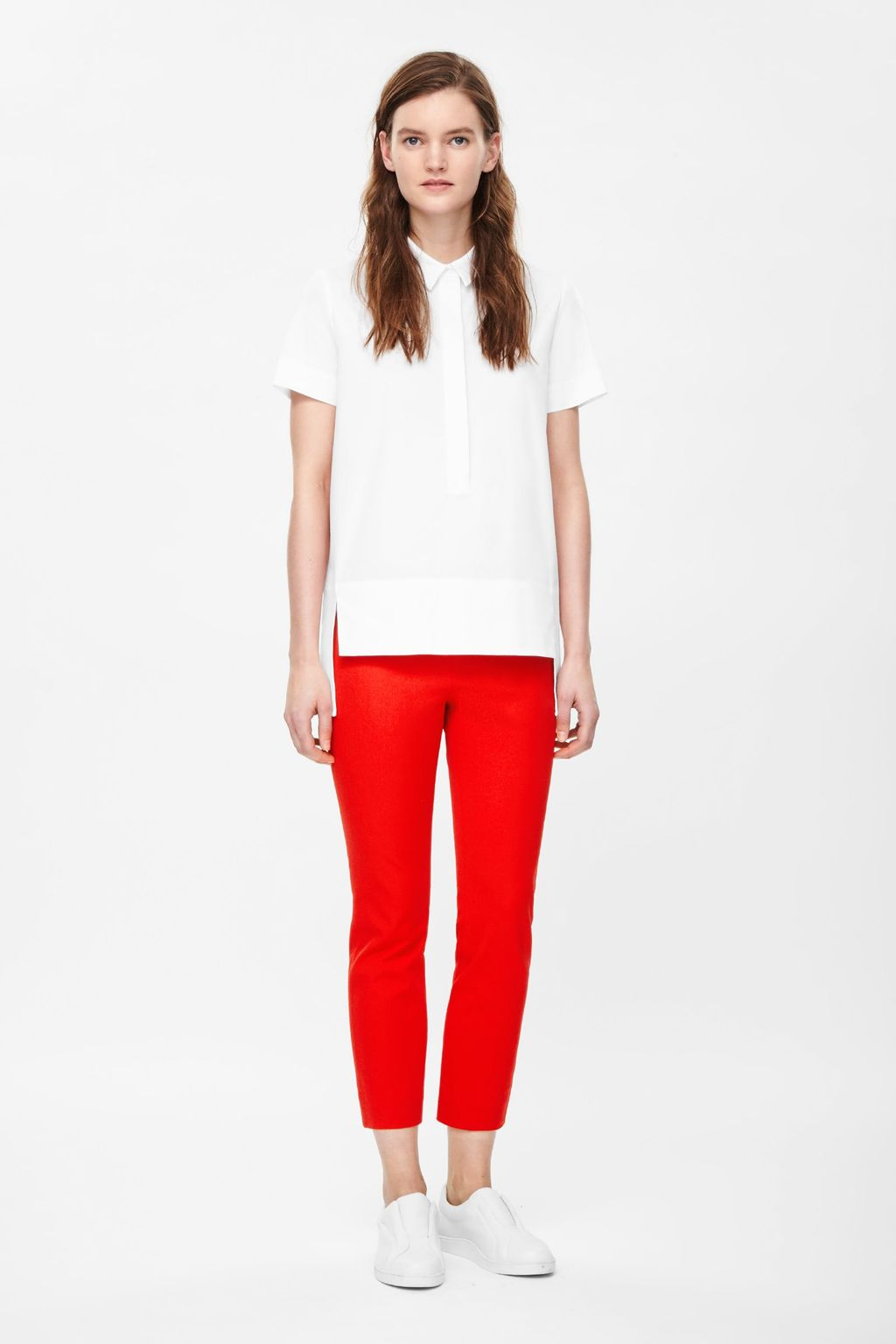 Cropped Side Zip Trousers - pattern: plain; style: capri; waist: mid/regular rise; predominant colour: true red; occasions: casual, creative work; length: calf length; fibres: cotton - stretch; fit: slim leg; pattern type: fabric; texture group: woven light midweight; embellishment: zips; season: s/s 2015; wardrobe: highlight