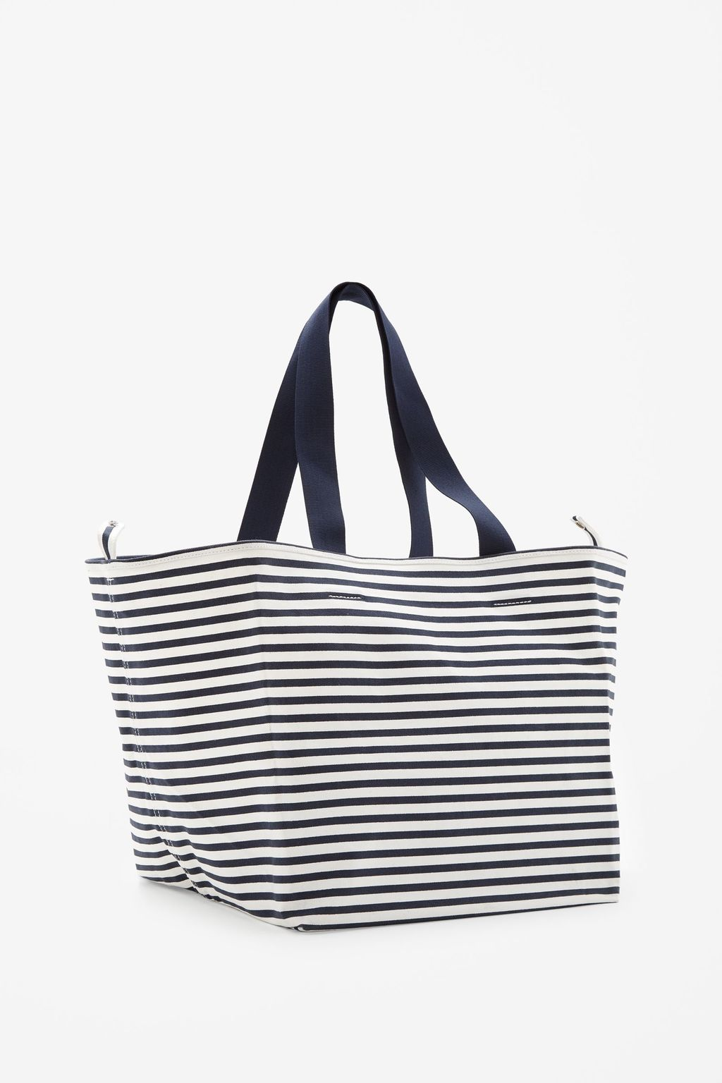 Striped Canvas Bag - secondary colour: white; predominant colour: navy; occasions: casual, holiday; type of pattern: standard; style: tote; length: handle; size: oversized; material: fabric; finish: plain; pattern: horizontal stripes; season: s/s 2015; wardrobe: highlight