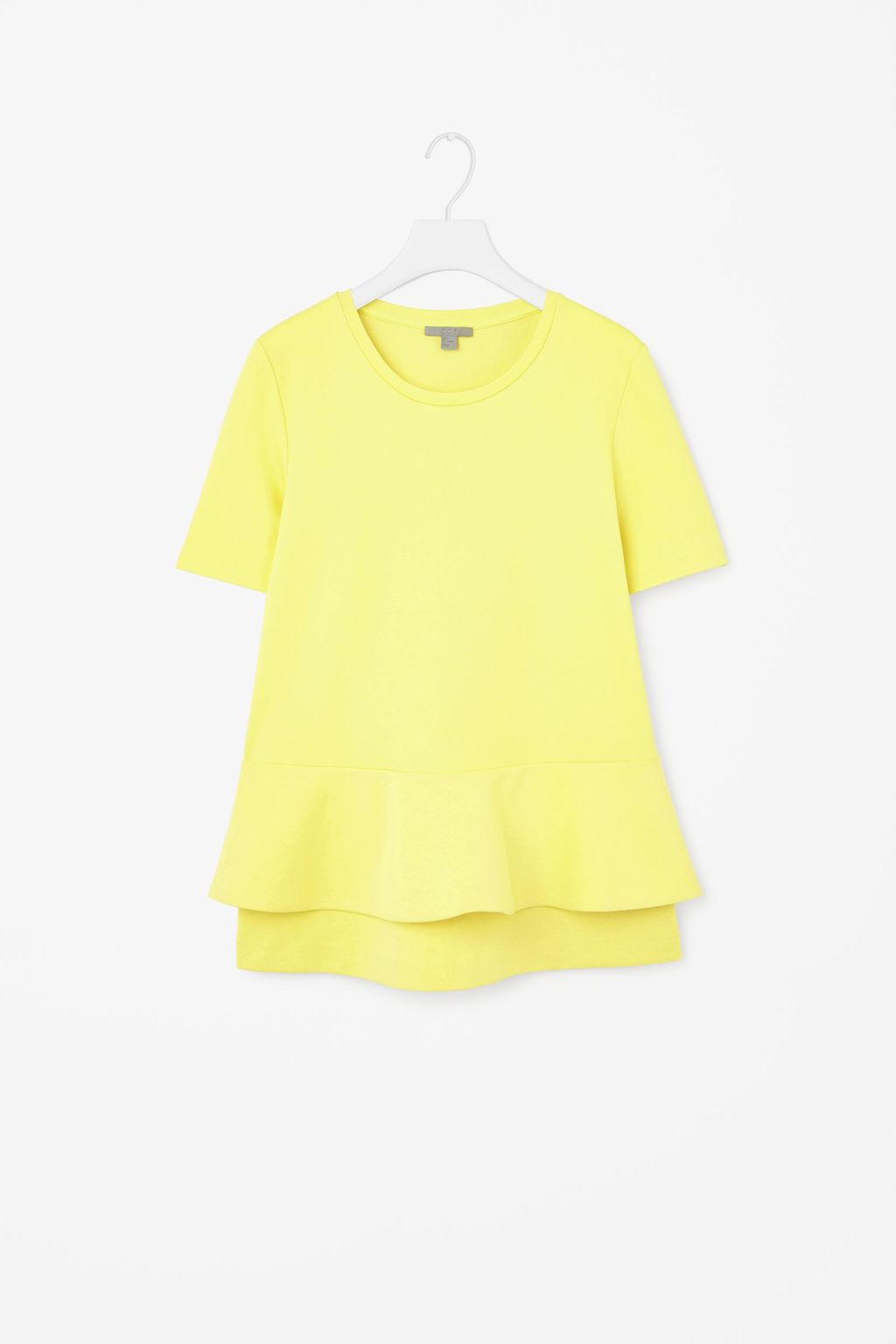 Top With Flared Layer - pattern: plain; predominant colour: yellow; occasions: casual; length: standard; style: top; fibres: viscose/rayon - stretch; fit: body skimming; neckline: crew; sleeve length: short sleeve; sleeve style: standard; pattern type: fabric; texture group: jersey - stretchy/drapey; season: s/s 2015; wardrobe: highlight
