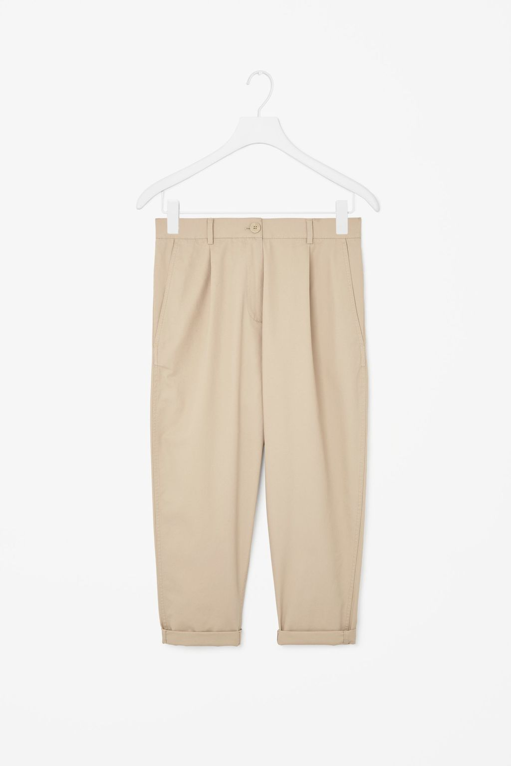 Loose Fit Cotton Chinos - pattern: plain; waist: mid/regular rise; predominant colour: nude; occasions: casual, creative work; length: ankle length; style: chino; fibres: cotton - 100%; texture group: cotton feel fabrics; fit: tapered; pattern type: fabric; season: s/s 2015; wardrobe: basic
