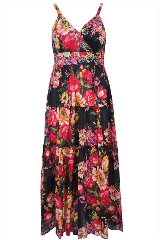Black Vintage Floral Print Maxi Dress - neckline: low v-neck; sleeve style: standard vest straps/shoulder straps; fit: empire; style: maxi dress; length: ankle length; secondary colour: hot pink; predominant colour: black; occasions: evening; fibres: cotton - 100%; sleeve length: sleeveless; pattern type: fabric; pattern: florals; texture group: jersey - stretchy/drapey; season: s/s 2015; multicoloured: multicoloured; wardrobe: event