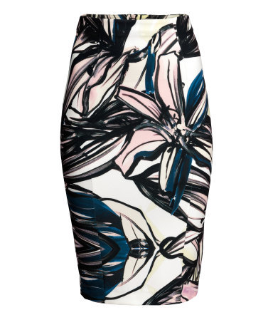 Pencil Skirt - style: pencil; fit: tailored/fitted; waist detail: fitted waist; waist: mid/regular rise; predominant colour: ivory/cream; secondary colour: black; occasions: evening, creative work; length: just above the knee; fibres: polyester/polyamide - stretch; pattern type: fabric; pattern: florals; texture group: jersey - stretchy/drapey; season: s/s 2015; pattern size: big & busy (bottom); multicoloured: multicoloured; wardrobe: highlight