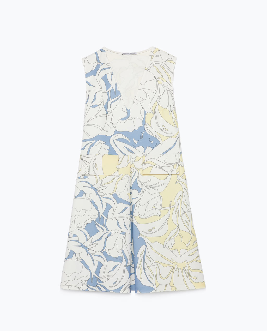 Printed Dress - style: shift; length: mid thigh; neckline: low v-neck; sleeve style: sleeveless; secondary colour: yellow; occasions: casual, creative work; fit: soft a-line; fibres: polyester/polyamide - mix; hip detail: adds bulk at the hips; predominant colour: multicoloured; sleeve length: sleeveless; pattern type: fabric; pattern size: big & busy; pattern: florals; texture group: woven light midweight; season: s/s 2015; multicoloured: multicoloured; wardrobe: highlight