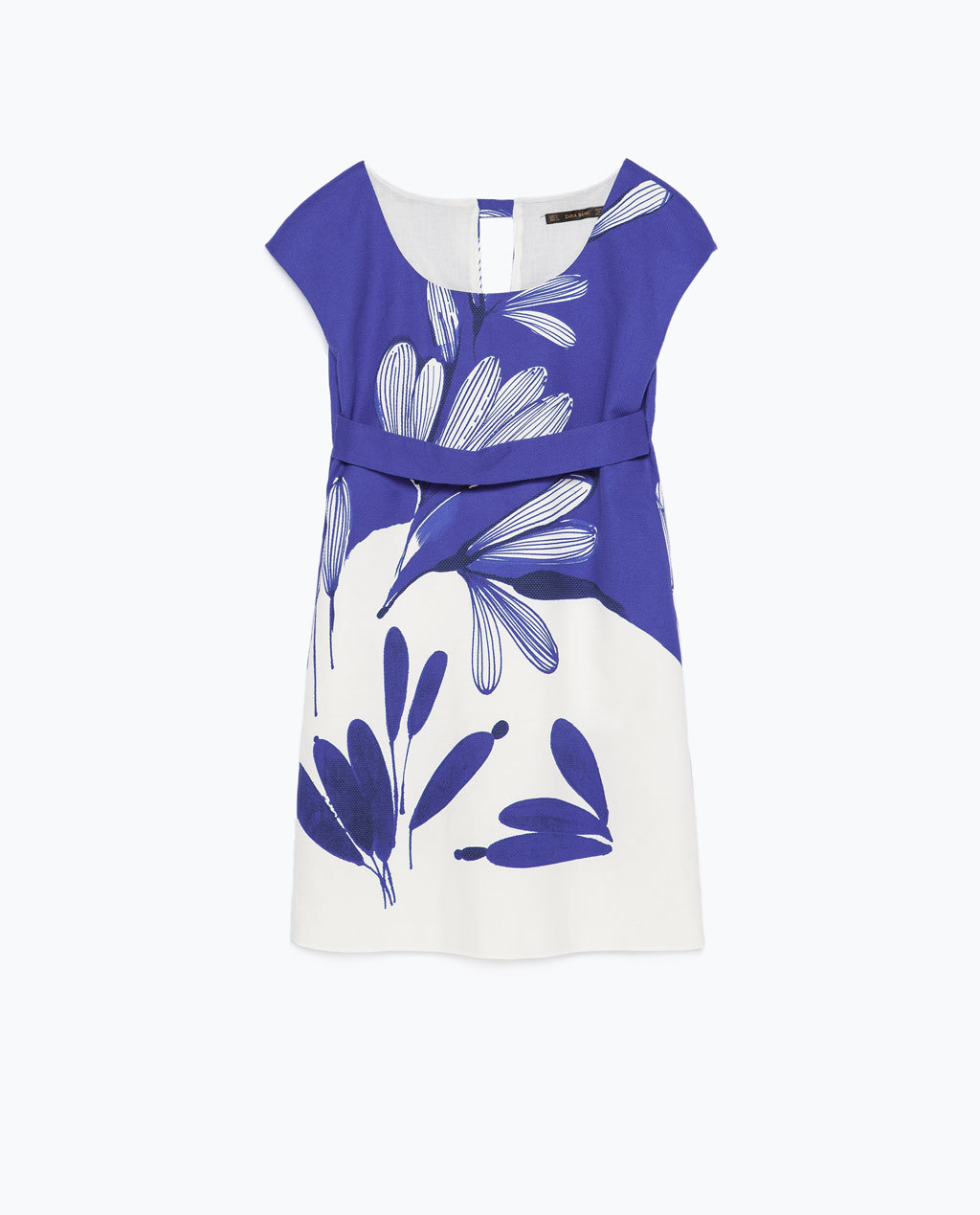 Printed Dress - style: shift; length: mid thigh; neckline: round neck; sleeve style: capped; fit: tailored/fitted; secondary colour: white; predominant colour: navy; occasions: evening, creative work; fibres: cotton - stretch; sleeve length: sleeveless; pattern type: fabric; pattern: florals; texture group: woven light midweight; season: s/s 2015; multicoloured: multicoloured; wardrobe: highlight