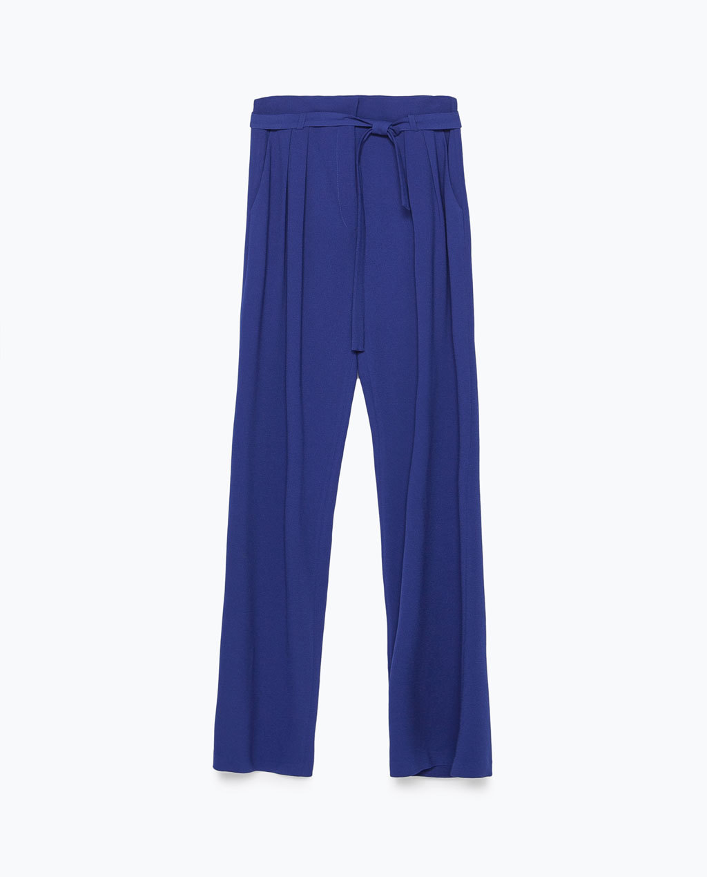 Loose Fit Trousers - length: standard; pattern: plain; style: palazzo; waist: mid/regular rise; predominant colour: royal blue; occasions: casual, creative work; texture group: crepes; fit: wide leg; pattern type: fabric; season: s/s 2015; wardrobe: highlight