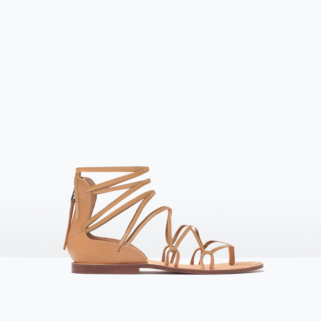 Leather Roman Sandal - predominant colour: camel; occasions: casual; material: leather; heel height: flat; heel: standard; toe: open toe/peeptoe; style: gladiators; finish: plain; pattern: plain; season: s/s 2015; wardrobe: basic