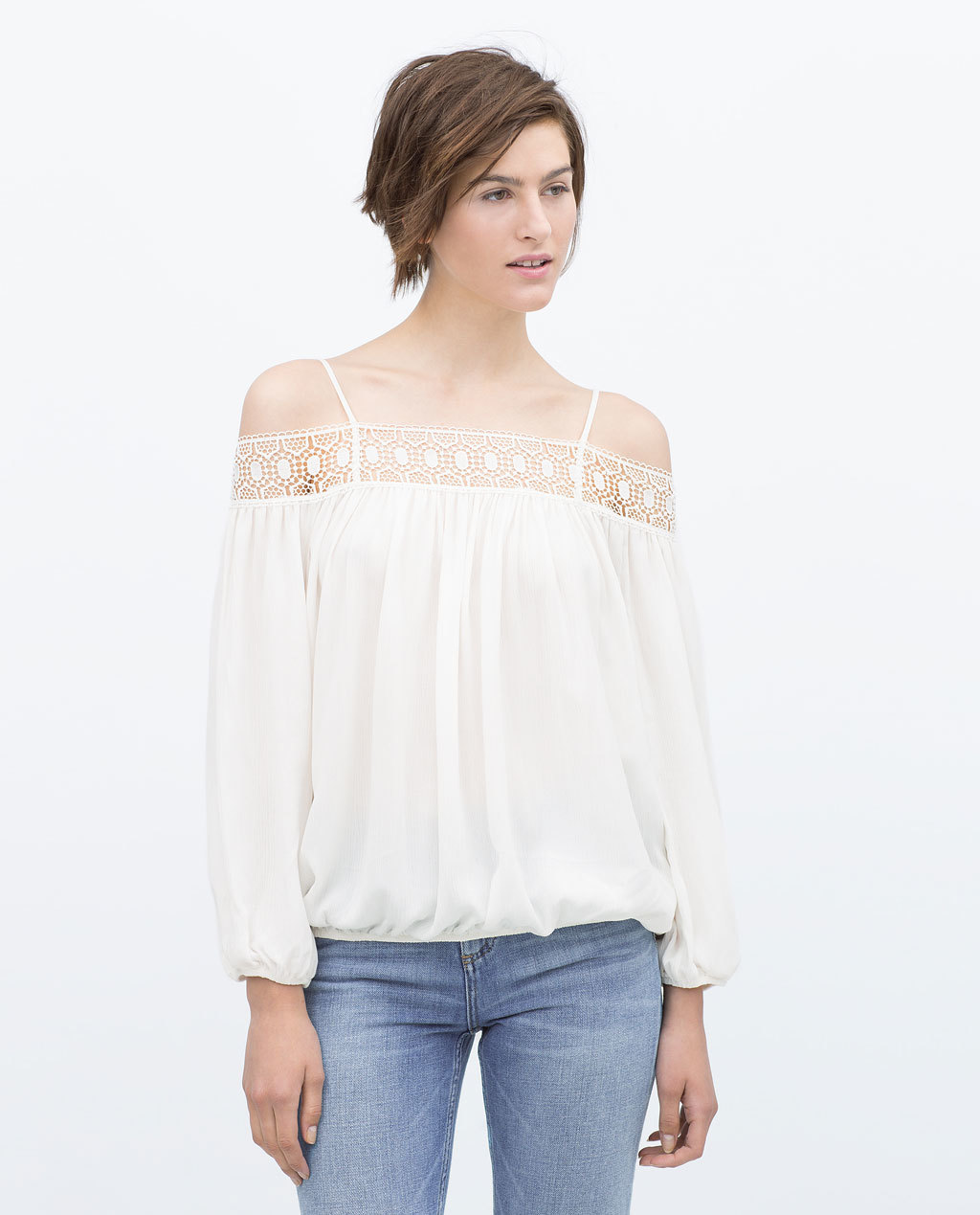 Off Shoulder Blouse - neckline: off the shoulder; pattern: plain; predominant colour: ivory/cream; occasions: casual, creative work; length: standard; fit: loose; style: gypsy/peasant; sleeve length: long sleeve; sleeve style: standard; pattern type: fabric; texture group: other - light to midweight; season: s/s 2015; wardrobe: highlight