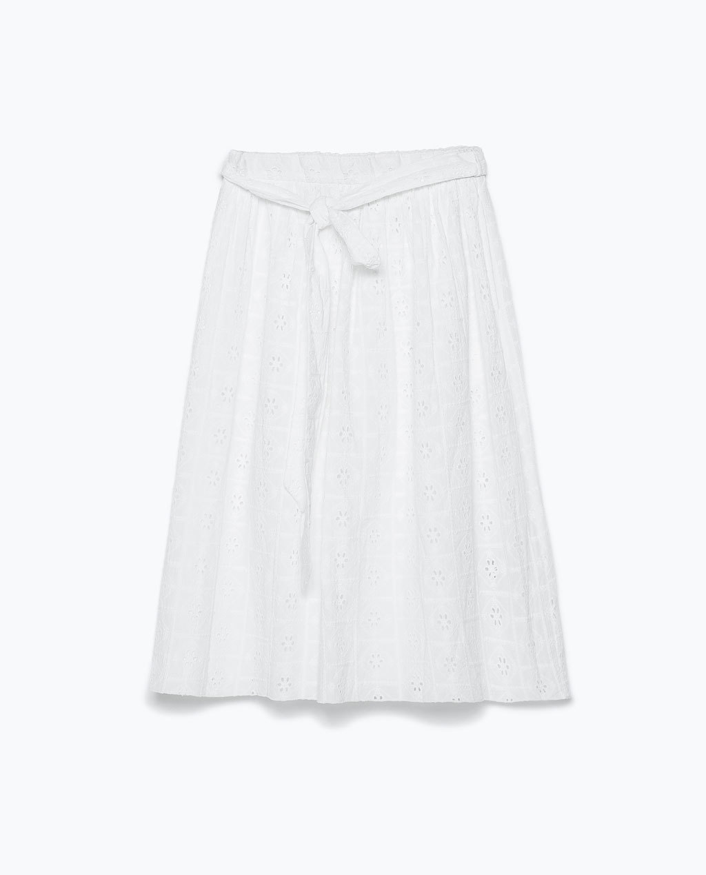 Midi Skirt - pattern: plain; style: full/prom skirt; fit: loose/voluminous; waist detail: belted waist/tie at waist/drawstring; waist: mid/regular rise; predominant colour: ivory/cream; occasions: casual, occasion, creative work; length: on the knee; fibres: cotton - 100%; texture group: cotton feel fabrics; season: s/s 2015; wardrobe: basic