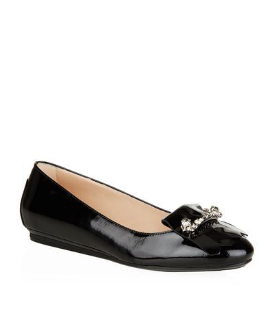 Crystal Embellished Patent Ballet Flat - predominant colour: black; occasions: casual, work, creative work; material: leather; heel height: flat; toe: round toe; style: ballerinas / pumps; finish: patent; pattern: plain; season: s/s 2015