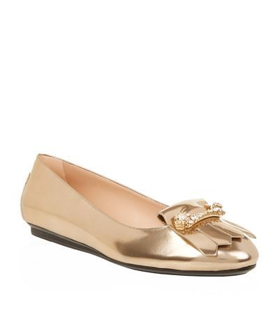 Crystal Embellished Patent Ballet Flat - predominant colour: gold; occasions: casual, creative work; material: leather; heel height: flat; toe: round toe; style: ballerinas / pumps; finish: metallic; pattern: plain; season: s/s 2015