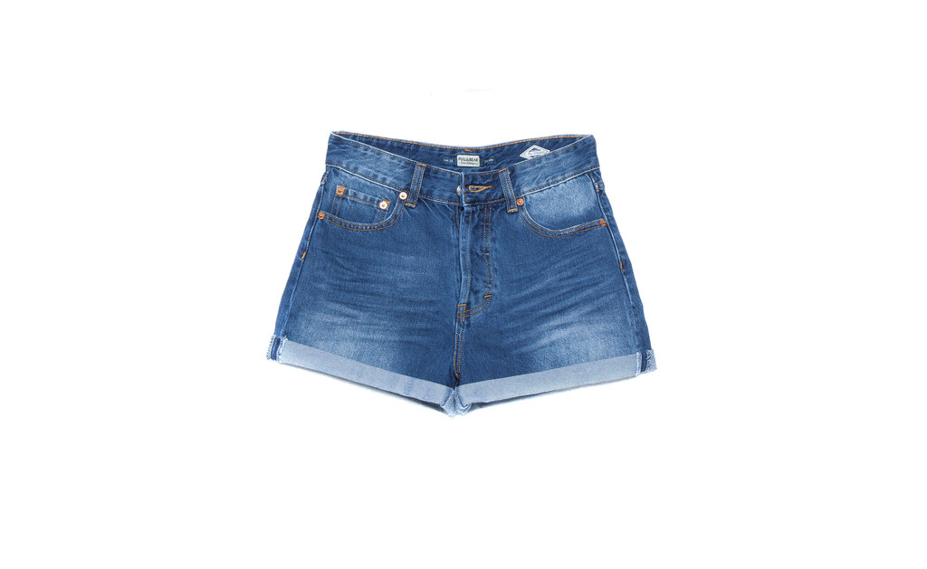 Ripped Denim Shorts - pattern: plain; waist: high rise; pocket detail: traditional 5 pocket; predominant colour: denim; occasions: casual, holiday; fibres: cotton - stretch; texture group: denim; pattern type: fabric; season: s/s 2015; style: denim; length: short shorts; fit: slim leg; wardrobe: holiday
