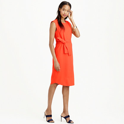 Sleeveless Belted Dress In Italian Wool Crepe - style: shift; neckline: round neck; pattern: plain; sleeve style: sleeveless; waist detail: belted waist/tie at waist/drawstring; predominant colour: true red; length: on the knee; fit: straight cut; sleeve length: sleeveless; texture group: crepes; pattern type: fabric; occasions: creative work; season: s/s 2015; wardrobe: highlight
