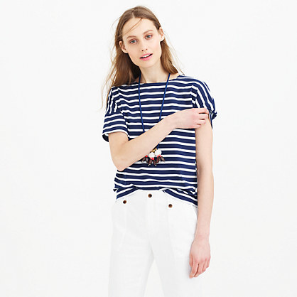 Saint James® For Short Sleeve Slouchy T Shirt - pattern: horizontal stripes; style: t-shirt; predominant colour: royal blue; occasions: casual; length: standard; fibres: cotton - 100%; fit: loose; neckline: crew; sleeve length: short sleeve; sleeve style: standard; pattern type: fabric; pattern size: standard; texture group: jersey - stretchy/drapey; season: s/s 2015; wardrobe: highlight