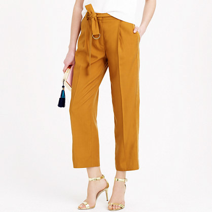 Cropped Wide Leg Trouser With Tux Stripe - pattern: plain; pocket detail: pockets at the sides; waist detail: belted waist/tie at waist/drawstring; waist: mid/regular rise; predominant colour: mustard; occasions: casual, evening, creative work; length: ankle length; fibres: cotton - 100%; fit: straight leg; pattern type: fabric; texture group: woven light midweight; style: standard; season: s/s 2015