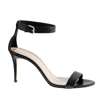 High Heel Ankle Strap Sandals - predominant colour: black; occasions: evening, occasion; material: leather; heel height: high; ankle detail: ankle strap; heel: stiletto; toe: open toe/peeptoe; style: strappy; finish: plain; pattern: plain; season: s/s 2015; wardrobe: event