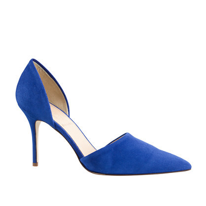 Elsie Suede D'orsay Pumps - predominant colour: royal blue; occasions: evening, occasion, creative work; material: suede; heel: stiletto; toe: pointed toe; style: courts; finish: plain; pattern: plain; heel height: very high; season: s/s 2015; wardrobe: highlight