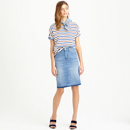 Frayed Denim Pencil Skirt - pattern: plain; style: pencil; waist: mid/regular rise; predominant colour: denim; occasions: casual, creative work; length: on the knee; texture group: denim; fit: straight cut; pattern type: fabric; season: s/s 2015; wardrobe: basic