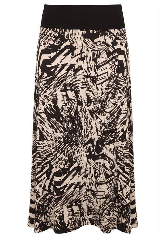 Black Tribal Print Maxi Skirt With Folded Waistband - length: ankle length; fit: body skimming; waist: mid/regular rise; predominant colour: nude; secondary colour: black; occasions: casual, holiday; style: maxi skirt; fibres: viscose/rayon - stretch; waist detail: feature waist detail; pattern type: fabric; pattern: patterned/print; texture group: jersey - stretchy/drapey; season: s/s 2015; multicoloured: multicoloured; wardrobe: highlight