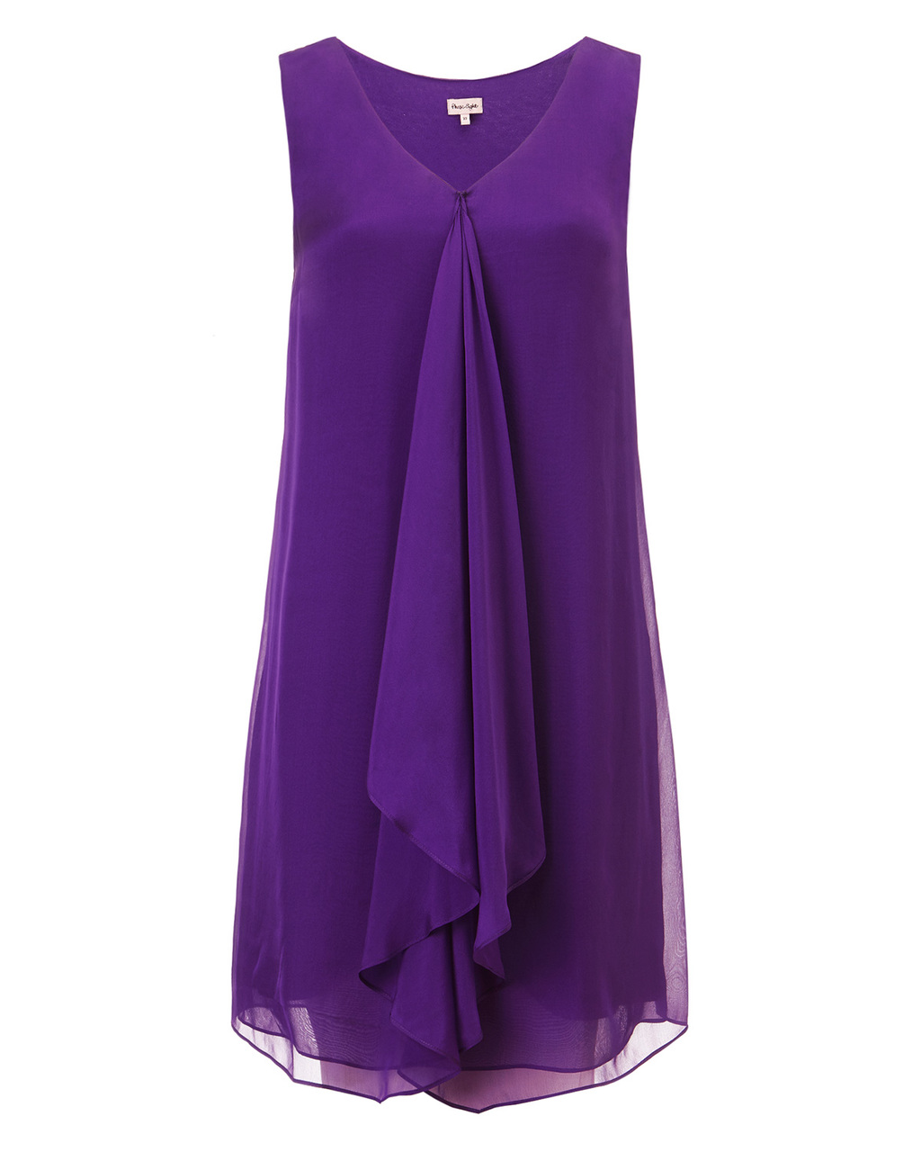 Karishma Silk Dress - style: a-line; neckline: low v-neck; fit: loose; pattern: plain; sleeve style: sleeveless; predominant colour: purple; occasions: evening, occasion; length: just above the knee; sleeve length: sleeveless; texture group: sheer fabrics/chiffon/organza etc.; bust detail: tiers/frills/bulky drapes/pleats; pattern type: fabric; season: s/s 2015