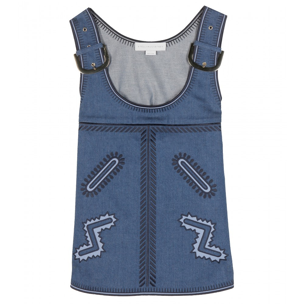 Embroidered Denim Top - sleeve style: standard vest straps/shoulder straps; secondary colour: white; predominant colour: denim; occasions: casual; length: standard; style: top; neckline: scoop; fit: straight cut; sleeve length: sleeveless; texture group: denim; pattern: patterned/print; embellishment: embroidered; trends: alternative denim; season: s/s 2015; wardrobe: highlight