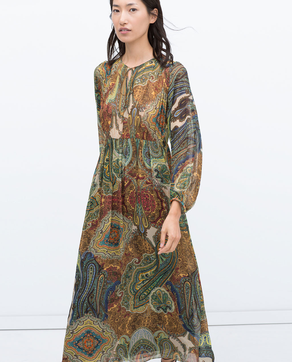 Printed Dress With Oriental Sleeves - neckline: plunge; fit: loose; style: maxi dress; length: ankle length; pattern: paisley; sleeve style: balloon; secondary colour: burgundy; predominant colour: nude; occasions: casual, creative work; fibres: viscose/rayon - 100%; hip detail: subtle/flattering hip detail; sleeve length: long sleeve; texture group: sheer fabrics/chiffon/organza etc.; pattern type: fabric; pattern size: big & busy; season: s/s 2015; multicoloured: multicoloured; wardrobe: highlight
