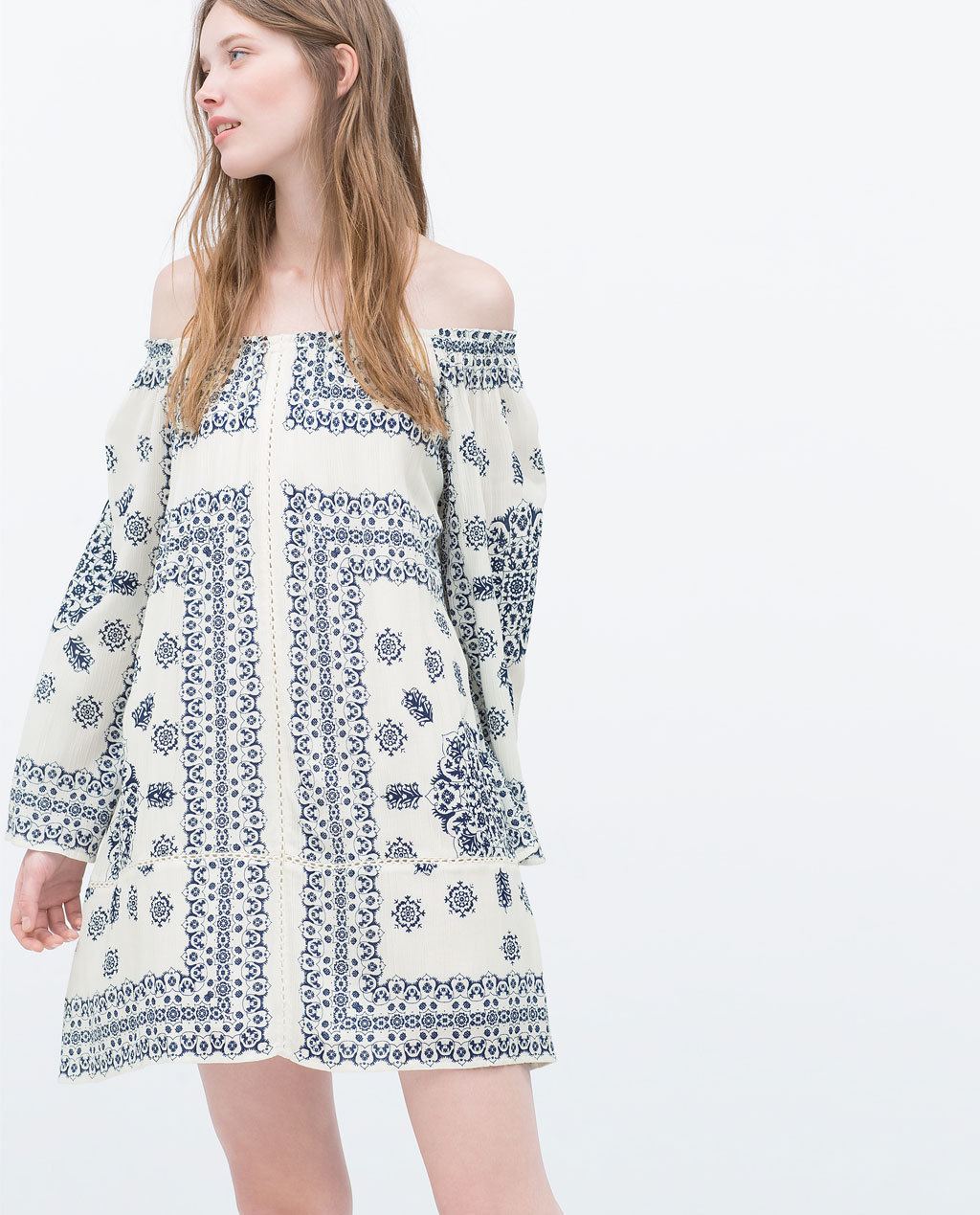 Printed Dress - style: shift; length: mid thigh; neckline: off the shoulder; secondary colour: ivory/cream; predominant colour: navy; occasions: casual; fit: soft a-line; sleeve length: long sleeve; sleeve style: standard; pattern type: fabric; pattern size: standard; pattern: patterned/print; texture group: woven light midweight; season: s/s 2015; wardrobe: highlight