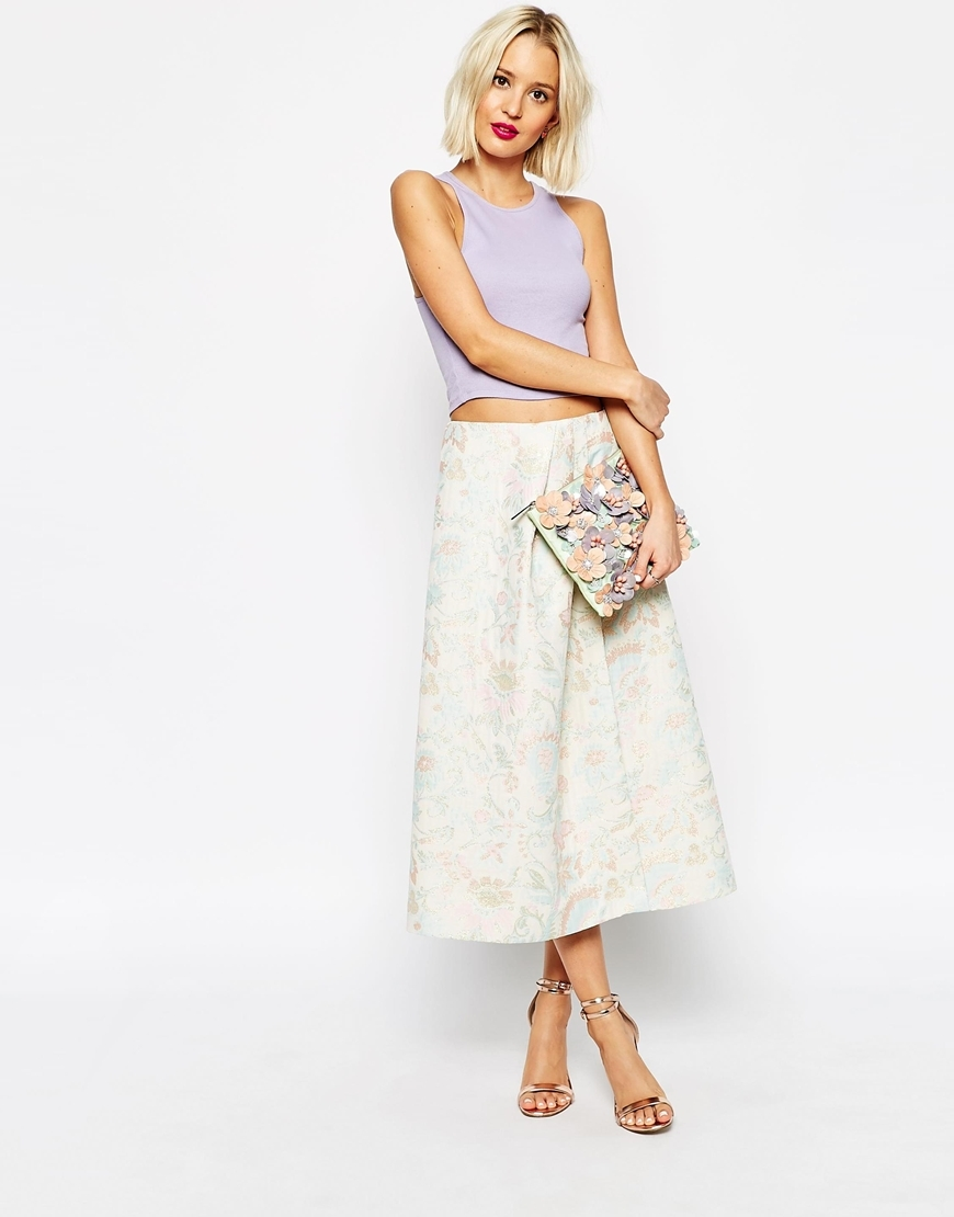 Prom Skirt In Metallic Jacquard Pastel - length: calf length; style: full/prom skirt; fit: loose/voluminous; waist: high rise; predominant colour: ivory/cream; fibres: polyester/polyamide - mix; occasions: occasion; pattern type: fabric; pattern: patterned/print; texture group: brocade/jacquard; season: s/s 2015; wardrobe: event