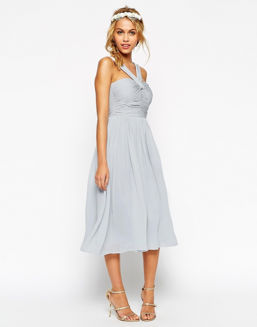 Wedding Midi Dress With Halter Neck Detail Light Green - length: below the knee; pattern: plain; sleeve style: sleeveless; neckline: low halter neck; bust detail: subtle bust detail; predominant colour: pale blue; occasions: evening, occasion; fit: fitted at waist & bust; style: fit & flare; fibres: viscose/rayon - 100%; hip detail: subtle/flattering hip detail; sleeve length: sleeveless; texture group: sheer fabrics/chiffon/organza etc.; pattern type: fabric; season: s/s 2015; wardrobe: event