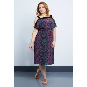 Silk Crepe De Chine Band Dress - style: shift; length: below the knee; fit: fitted at waist; predominant colour: purple; secondary colour: navy; occasions: evening, occasion; fibres: silk - 100%; shoulder detail: cut out shoulder; sleeve length: short sleeve; sleeve style: standard; texture group: crepes; neckline: medium square neck; pattern type: fabric; pattern size: standard; pattern: patterned/print; season: s/s 2015; multicoloured: multicoloured