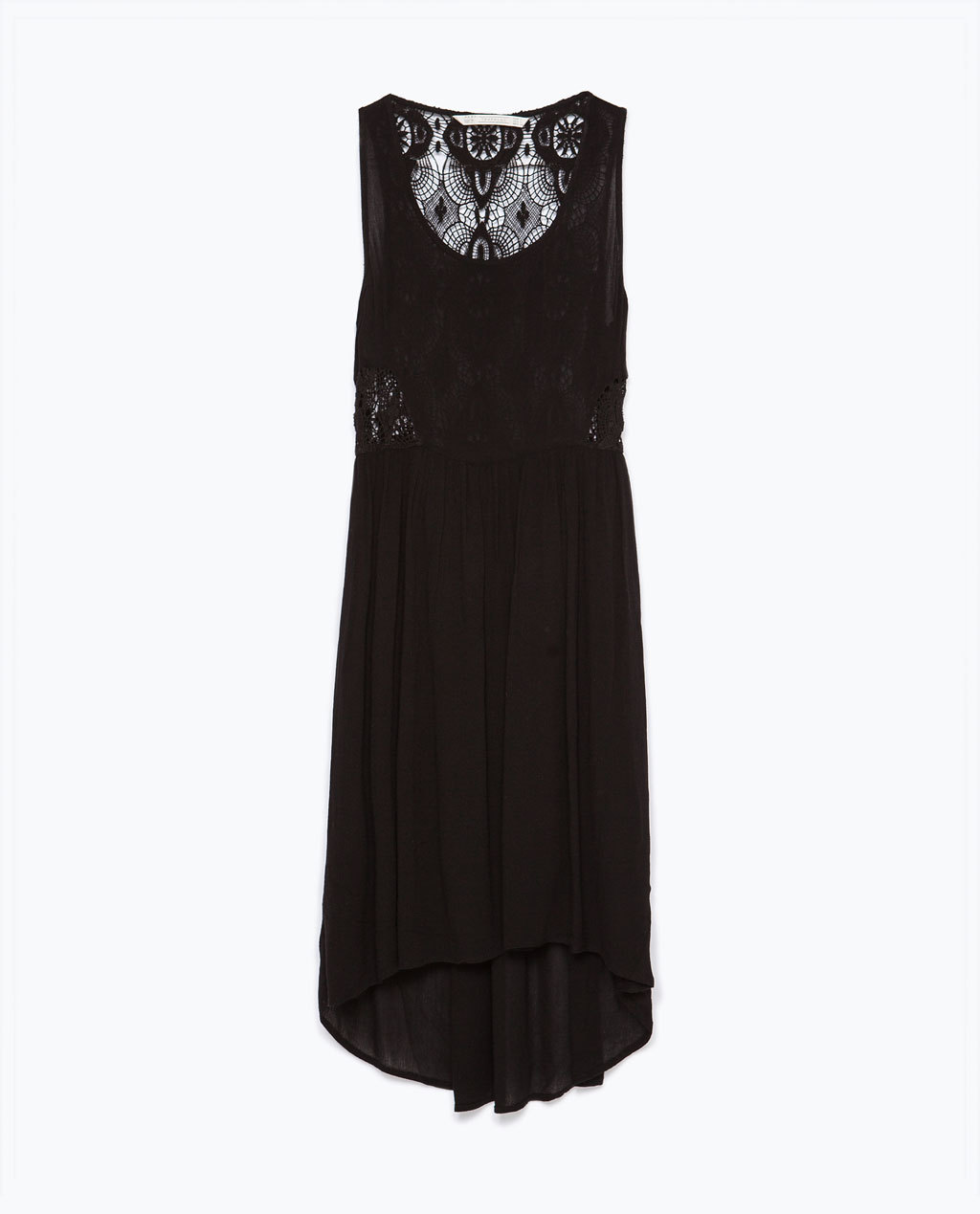 Crochet Back Dress - pattern: plain; sleeve style: sleeveless; style: vest; predominant colour: black; occasions: casual; length: on the knee; fit: soft a-line; neckline: scoop; fibres: viscose/rayon - 100%; hip detail: soft pleats at hip/draping at hip/flared at hip; sleeve length: sleeveless; texture group: cotton feel fabrics; pattern type: fabric; pattern size: light/subtle; embellishment: lace; season: s/s 2015; wardrobe: highlight