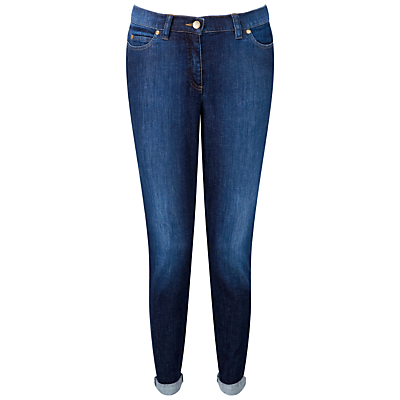 Boyfriend Jeans, Washed Indigo - length: standard; pattern: plain; pocket detail: traditional 5 pocket; style: slim leg; waist: mid/regular rise; predominant colour: navy; occasions: casual; fibres: cotton - stretch; jeans detail: shading down centre of thigh; jeans & bottoms detail: turn ups; texture group: denim; pattern type: fabric; season: s/s 2015