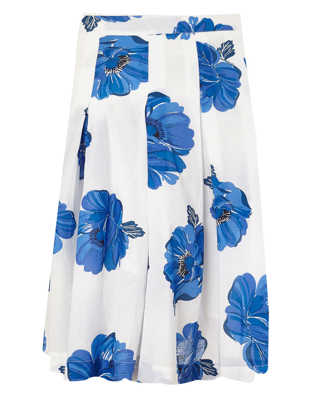 Iona Floral Print Cotton Skirt - length: below the knee; fit: loose/voluminous; waist: high rise; secondary colour: white; predominant colour: diva blue; occasions: casual, occasion; style: a-line; fibres: cotton - 100%; hip detail: soft pleats at hip/draping at hip/flared at hip; waist detail: narrow waistband; pattern type: fabric; pattern: florals; texture group: woven light midweight; season: s/s 2015; pattern size: big & busy (bottom); wardrobe: highlight