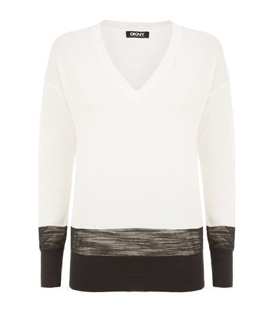 Colour Block Sweater - neckline: v-neck; style: standard; predominant colour: ivory/cream; secondary colour: black; occasions: casual; length: standard; fibres: cotton - mix; fit: standard fit; sleeve length: long sleeve; sleeve style: standard; texture group: knits/crochet; pattern type: fabric; pattern: colourblock; season: s/s 2015; multicoloured: multicoloured