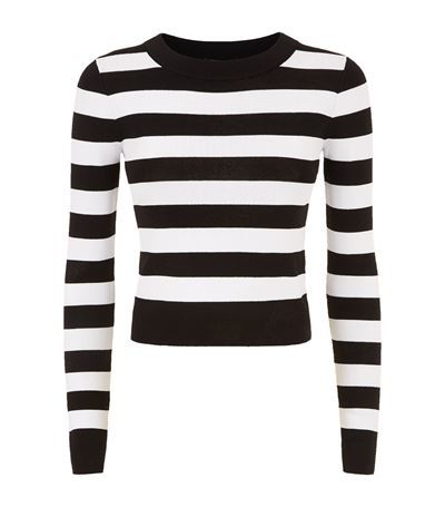 Striped Crop Sweater - pattern: horizontal stripes; length: cropped; style: standard; secondary colour: white; predominant colour: black; occasions: casual, creative work; fibres: wool - mix; fit: slim fit; neckline: crew; sleeve length: long sleeve; sleeve style: standard; trends: monochrome; texture group: knits/crochet; pattern type: knitted - fine stitch; pattern size: standard; season: s/s 2015; wardrobe: highlight