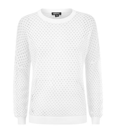 Mesh Sweater - neckline: round neck; pattern: plain; style: standard; predominant colour: white; occasions: casual, creative work; length: standard; fibres: cotton - 100%; fit: standard fit; sleeve length: long sleeve; sleeve style: standard; texture group: knits/crochet; pattern type: knitted - big stitch; season: s/s 2015; wardrobe: basic