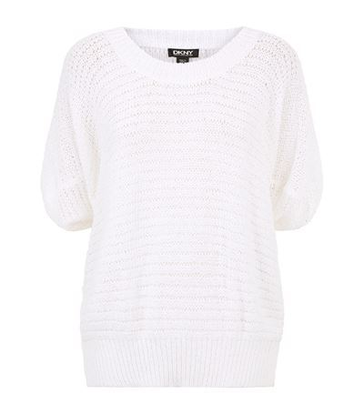 Open Knit Dolman Sweater - neckline: round neck; pattern: plain; length: below the bottom; style: standard; predominant colour: ivory/cream; occasions: casual; fit: loose; sleeve length: short sleeve; sleeve style: standard; texture group: knits/crochet; pattern type: knitted - fine stitch; season: s/s 2015; wardrobe: basic