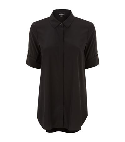 Crepe Shirt - neckline: shirt collar/peter pan/zip with opening; pattern: plain; length: below the bottom; style: shirt; predominant colour: black; occasions: casual; fibres: silk - 100%; fit: body skimming; sleeve length: short sleeve; sleeve style: standard; texture group: crepes; pattern type: fabric; season: s/s 2015; wardrobe: basic