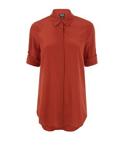 Crepe Shirt - neckline: shirt collar/peter pan/zip with opening; pattern: plain; length: below the bottom; style: shirt; predominant colour: bright orange; occasions: casual; fibres: silk - 100%; fit: body skimming; sleeve length: short sleeve; sleeve style: standard; texture group: crepes; pattern type: fabric; season: s/s 2015; wardrobe: highlight