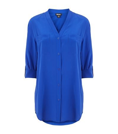 Crepe V Neck Shirt - neckline: v-neck; pattern: plain; length: below the bottom; style: shirt; bust detail: pocket detail at bust; predominant colour: royal blue; occasions: casual, creative work; fit: loose; sleeve length: half sleeve; sleeve style: standard; texture group: crepes; pattern type: fabric; fibres: silk - stretch; season: s/s 2015