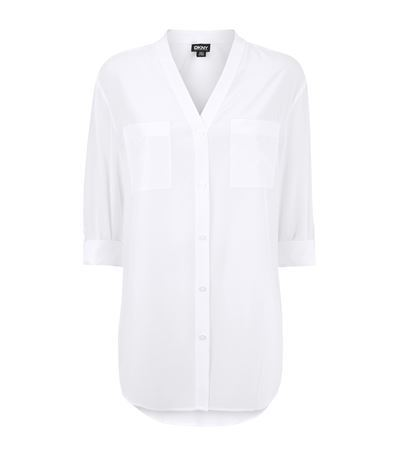 Crepe V Neck Shirt - neckline: v-neck; pattern: plain; length: below the bottom; style: shirt; predominant colour: ivory/cream; occasions: casual, work, creative work; fit: body skimming; sleeve length: 3/4 length; sleeve style: standard; texture group: crepes; season: s/s 2015; wardrobe: basic