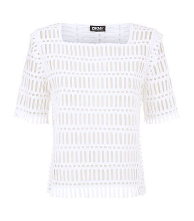 Tara Fringed Eyelet Top - pattern: plain; predominant colour: white; occasions: casual, creative work; length: standard; style: top; fibres: cotton - 100%; fit: straight cut; sleeve length: short sleeve; sleeve style: standard; neckline: medium square neck; pattern type: fabric; pattern size: standard; texture group: jersey - stretchy/drapey; season: s/s 2015; wardrobe: basic