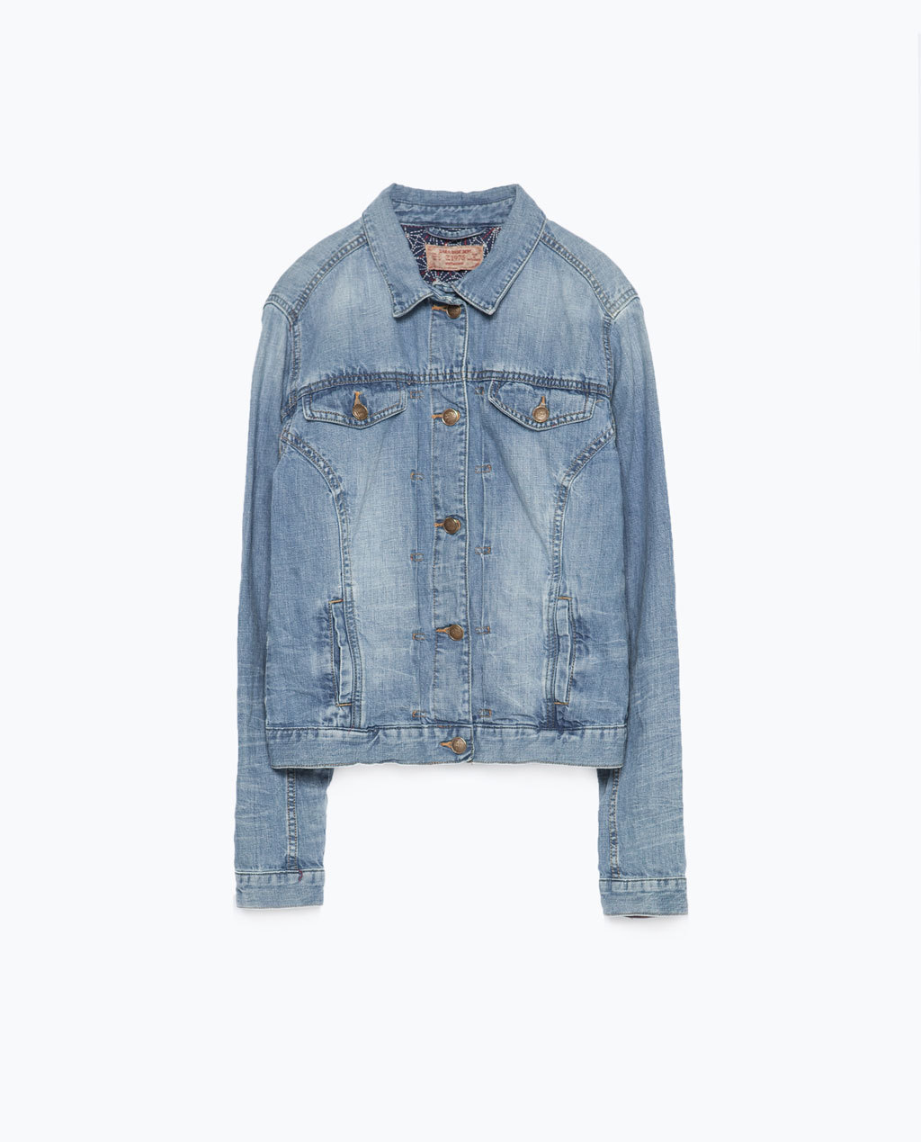 Denim Jacket - pattern: plain; style: denim; predominant colour: denim; occasions: casual; length: standard; fit: straight cut (boxy); fibres: cotton - stretch; collar: shirt collar/peter pan/zip with opening; sleeve length: long sleeve; sleeve style: standard; texture group: denim; collar break: high/illusion of break when open; pattern type: fabric; season: s/s 2015; wardrobe: basic