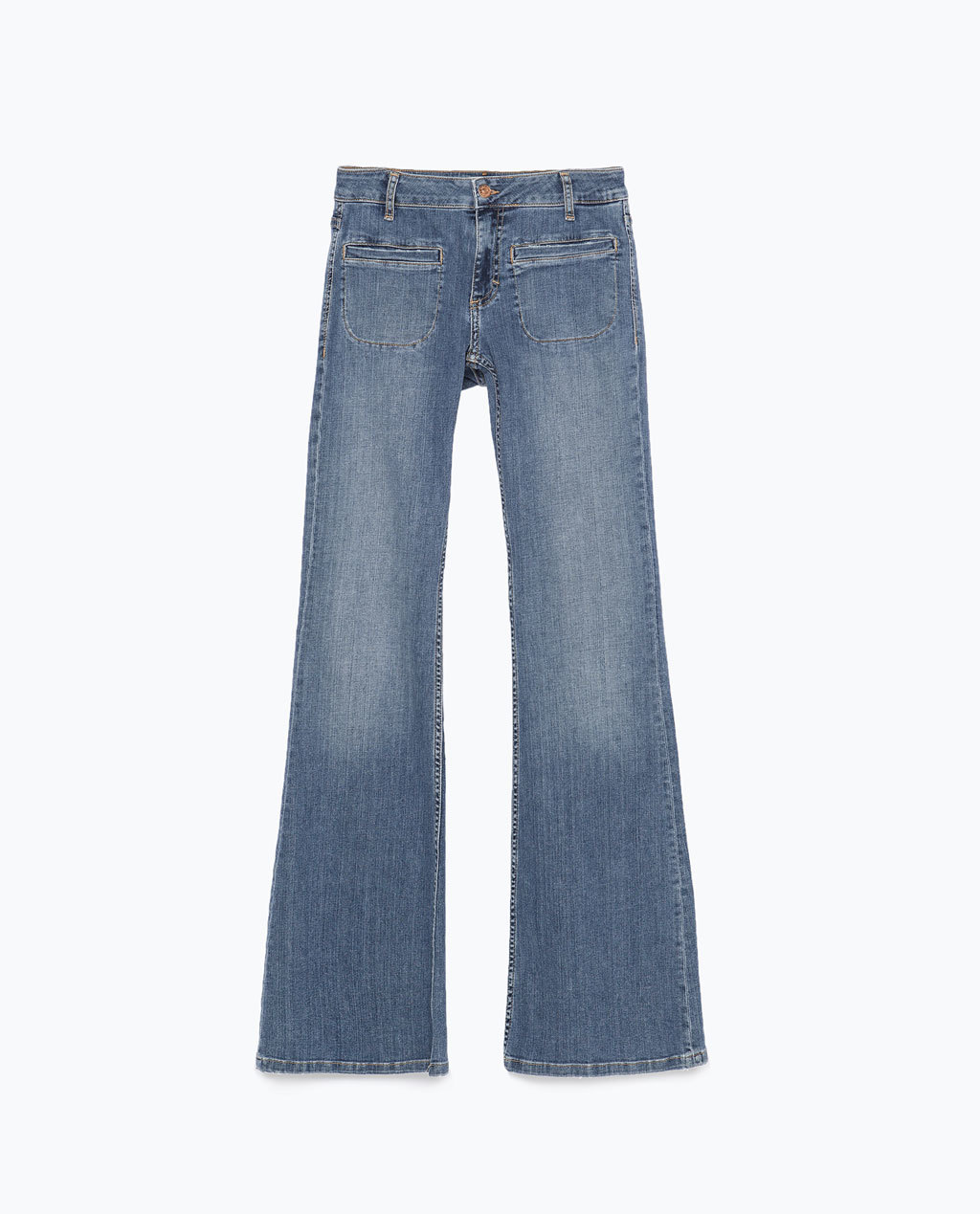 Bootcut Denim Jeans - style: bootcut; length: standard; pattern: plain; waist: high rise; pocket detail: traditional 5 pocket; predominant colour: denim; occasions: casual; fibres: cotton - stretch; jeans detail: shading down centre of thigh, washed/faded; texture group: denim; pattern type: fabric; trends: seventies retro; season: s/s 2015; wardrobe: basic