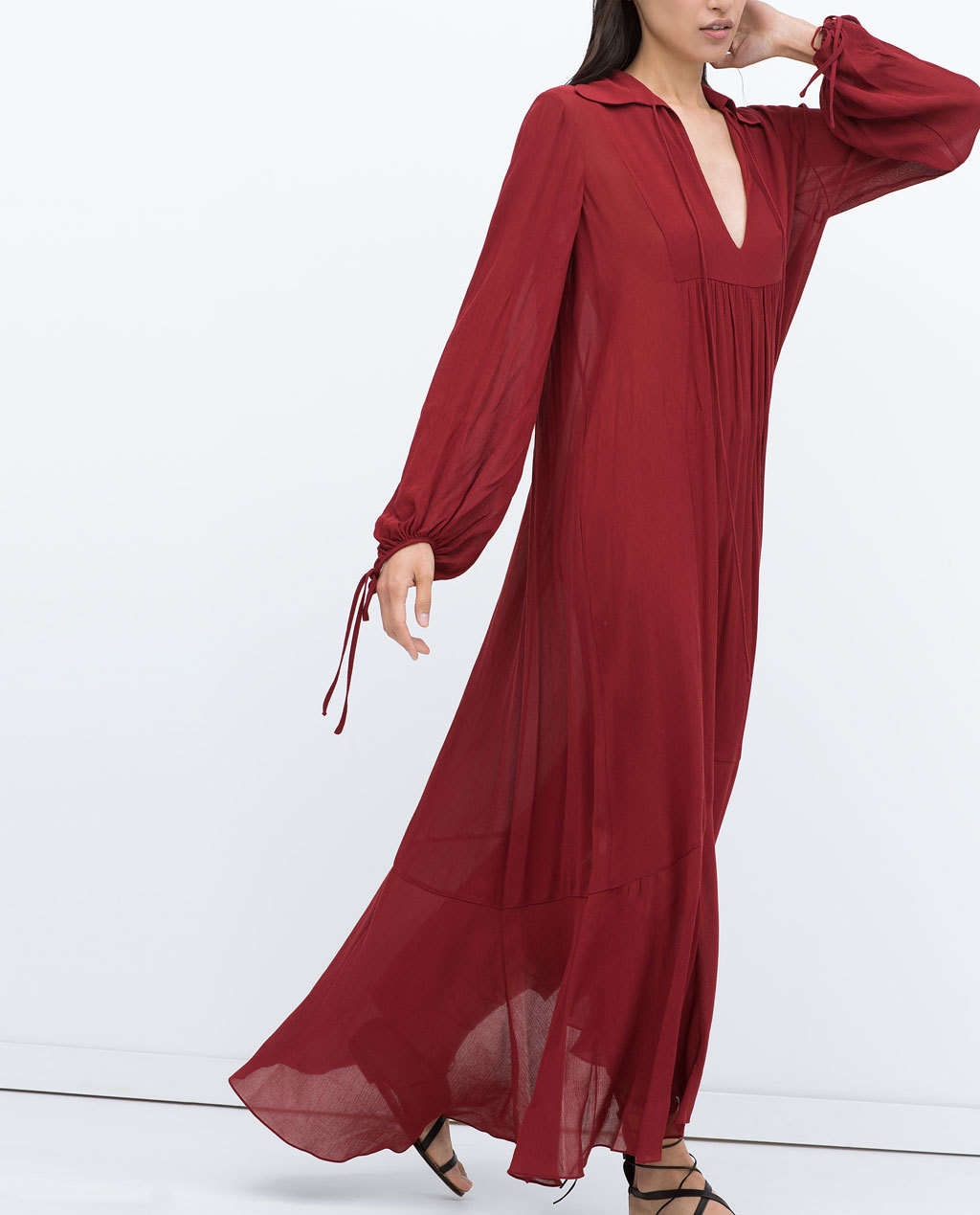 Long Studio Dress - neckline: low v-neck; fit: loose; pattern: plain; style: maxi dress; length: ankle length; sleeve style: balloon; predominant colour: burgundy; occasions: casual, holiday; fibres: polyester/polyamide - 100%; hip detail: subtle/flattering hip detail; sleeve length: long sleeve; texture group: sheer fabrics/chiffon/organza etc.; pattern type: fabric; trends: seventies retro; season: s/s 2015; wardrobe: highlight