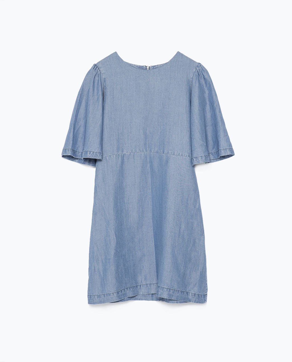 Loose Cut Dress - style: shift; length: mini; sleeve style: angel/waterfall; pattern: plain; predominant colour: denim; occasions: casual; fit: soft a-line; fibres: cotton - mix; neckline: crew; sleeve length: short sleeve; texture group: denim; pattern type: fabric; trends: alternative denim; season: s/s 2015; wardrobe: basic