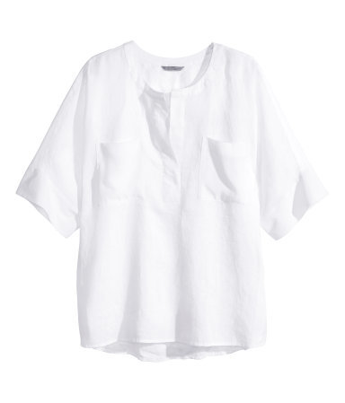 + Oversized Linen Shirt - neckline: round neck; pattern: plain; predominant colour: white; occasions: casual, creative work; length: standard; style: top; fibres: linen - 100%; fit: straight cut; sleeve length: short sleeve; sleeve style: standard; texture group: linen; pattern type: fabric; season: s/s 2015; wardrobe: basic