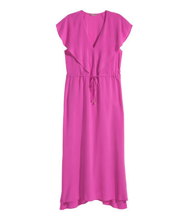 + Maxi Dress - neckline: low v-neck; sleeve style: angel/waterfall; fit: fitted at waist; pattern: plain; style: maxi dress; length: ankle length; waist detail: belted waist/tie at waist/drawstring; predominant colour: hot pink; occasions: occasion; sleeve length: short sleeve; texture group: crepes; pattern type: fabric; season: s/s 2015; wardrobe: event