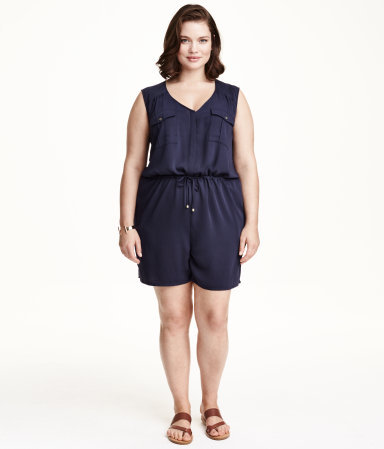 + Sleeveless Playsuit - neckline: v-neck; pattern: plain; sleeve style: sleeveless; waist detail: belted waist/tie at waist/drawstring; bust detail: subtle bust detail; predominant colour: navy; occasions: casual; fit: body skimming; fibres: polyester/polyamide - 100%; sleeve length: sleeveless; texture group: crepes; style: jumpsuit; pattern type: fabric; length: just above the knee; season: s/s 2015; wardrobe: highlight