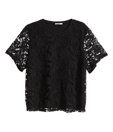 + Lace Top - predominant colour: black; occasions: evening, creative work; length: standard; style: top; fit: loose; neckline: crew; sleeve length: short sleeve; sleeve style: standard; texture group: lace; pattern type: fabric; pattern: patterned/print; season: s/s 2015; wardrobe: highlight
